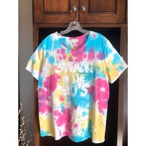Distressed Tie-Dye 'Stuck in the 90's' T-Shirt